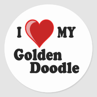 Amo (corazón) a mi pegatina de oro del perro del