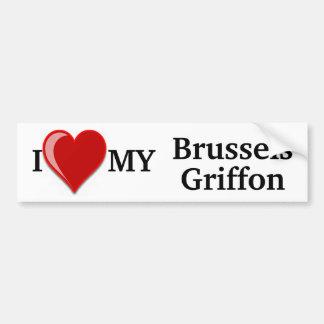 Amo (corazón) a mi pegatina del perro de Bruselas  Etiqueta De Parachoque