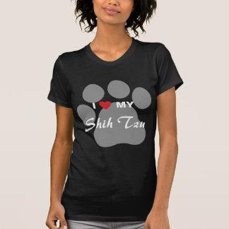 Amo (corazón) a mi Shih Tzu Pawprint Camiseta