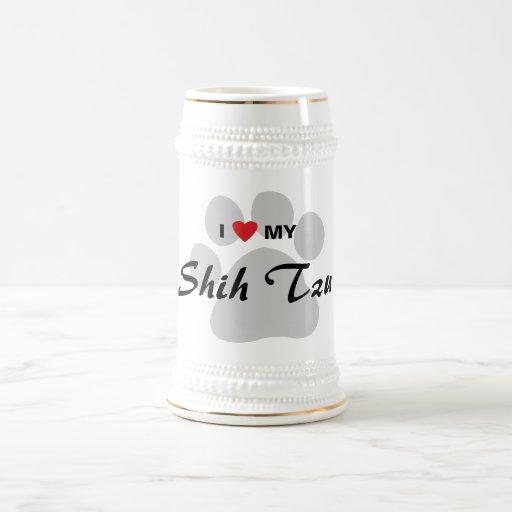 Amo (corazón) a mi Shih Tzu Pawprint Taza De Café