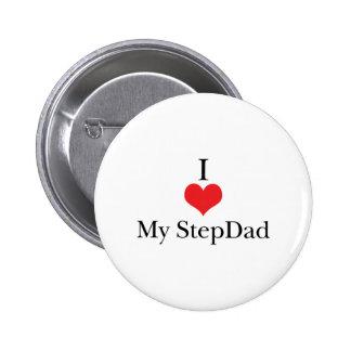 Amo (corazón) a mi StepDad Pin Redondo De 2 Pulgadas