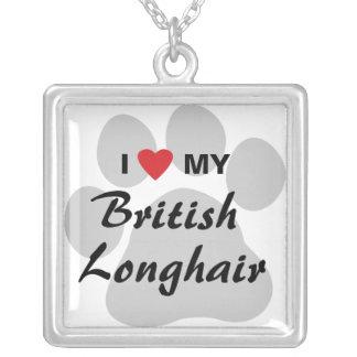Amo (corazón) a mis Británicos de pelo largo Colgante Cuadrado