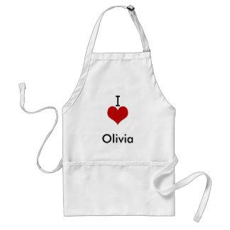 Amo (corazón) a Olivia Delantal