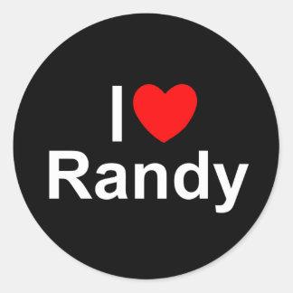 Amo (corazón) a Randy Pegatina Redonda
