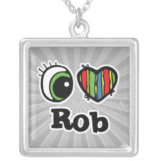 Amo (corazón) a Rob Colgante Cuadrado