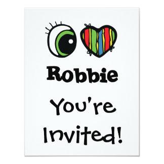 """Amo (corazón) a Robbie Invitación 4.25"""" X 5.5"""""""