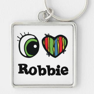 Amo (corazón) a Robbie Llavero Cuadrado Plateado