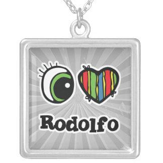 Amo (corazón) a Rodolfo Colgante Cuadrado