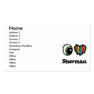 Amo (corazón) a Sherman Tarjetas Personales