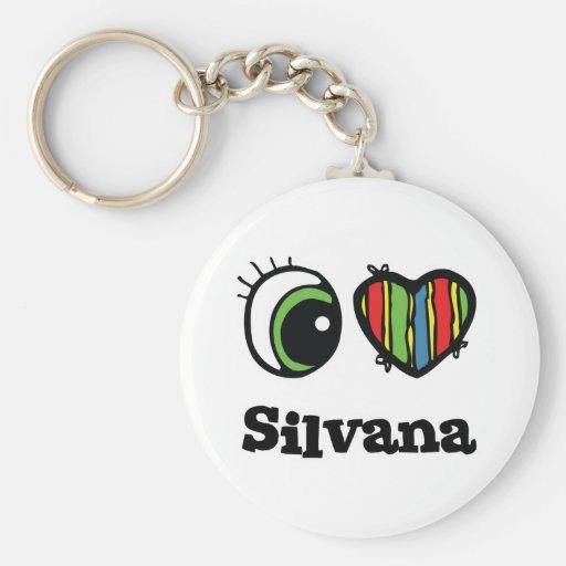 Amo (corazón) a Silvana Llavero Personalizado