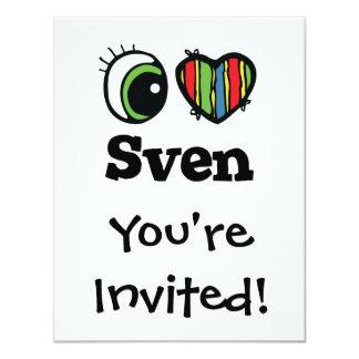 """Amo (corazón) a Sven Invitación 4.25"""" X 5.5"""""""