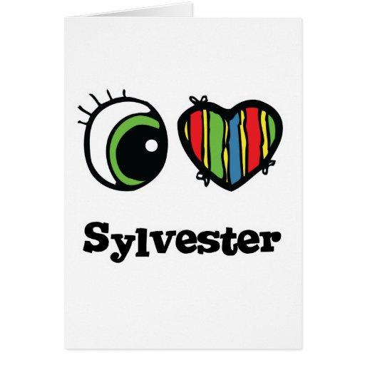 Amo (corazón) a Sylvester Tarjeta De Felicitación