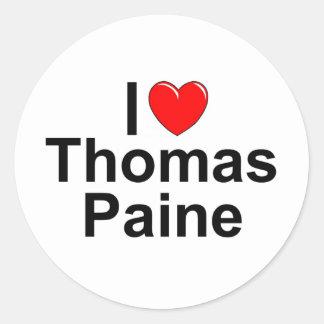 Amo (corazón) a Thomas Paine Pegatina Redonda