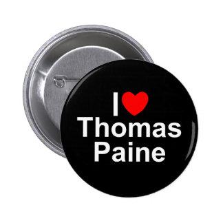 Amo (corazón) a Thomas Paine Pin Redondo De 2 Pulgadas