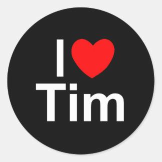 Amo (corazón) a Tim Etiqueta Redonda