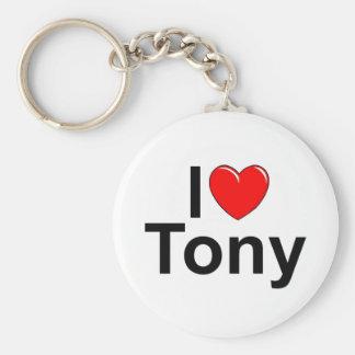 Amo (corazón) a Tony Llavero Redondo Tipo Pin