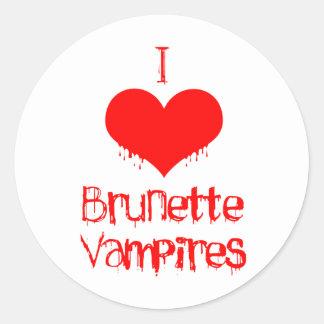 Amo (corazón) a vampiros triguenos etiquetas redondas