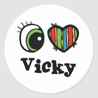 Amo (corazón) a Vicky Pegatina Redonda