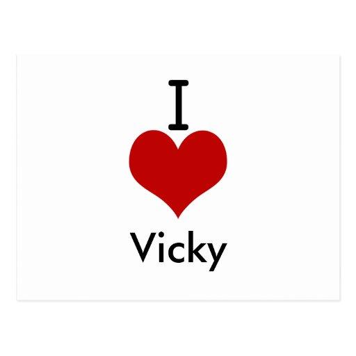 Amo (corazón) a Vicky Tarjeta Postal