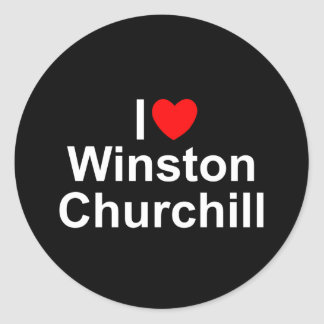 Amo (corazón) a Winston Churchill Pegatina Redonda