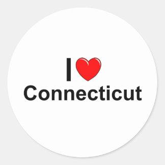 Amo (corazón) Connecticut Pegatina Redonda