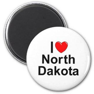 Amo (corazón) Dakota del Norte Imán Redondo 5 Cm