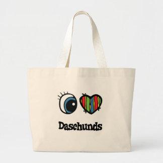 Amo (corazón) Daschunds Bolsa Tela Grande