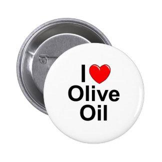Amo (corazón) el aceite de oliva pin redondo de 2 pulgadas