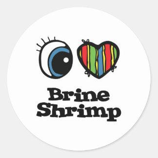 Amo corazón el camarón de Brine Etiqueta Redonda