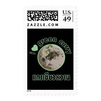 Amo (corazón) el curry verde tailandés sellos