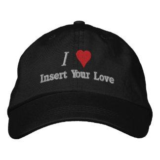 Amo (corazón) el gorra bordado gorra de béisbol bordada