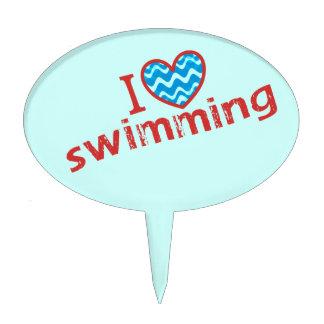 Amo (corazón) el nadar - nade al fiesta figura de tarta