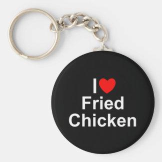 Amo (corazón) el pollo frito llavero redondo tipo pin