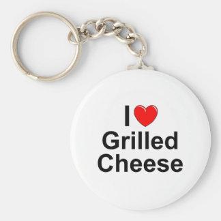 Amo (corazón) el queso asado a la parrilla llavero personalizado