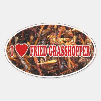 Amo corazón el saltamontes frito calcomania óval