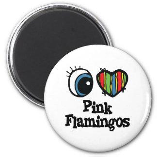 Amo (corazón) flamencos rosados imán redondo 5 cm