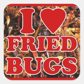 Amo corazón insectos fritos insectos comestibles pegatinas cuadradas personalizadas