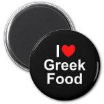 Amo (corazón) la comida griega imán para frigorífico