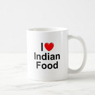 Amo (corazón) la comida india taza de café