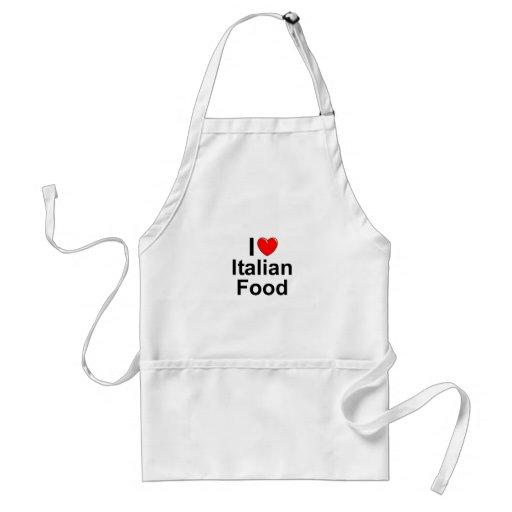 Amo (corazón) la comida italiana delantales