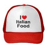 Amo (corazón) la comida italiana gorras de camionero