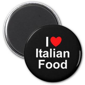 Amo (corazón) la comida italiana imán redondo 5 cm