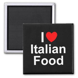 Amo (corazón) la comida italiana imán cuadrado