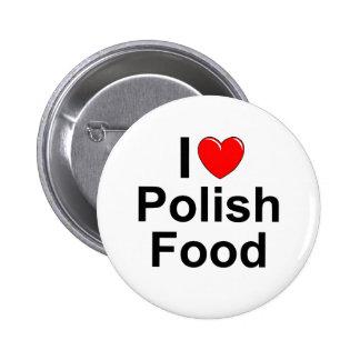 Amo (corazón) la comida polaca pin redondo de 2 pulgadas