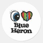 Amo (corazón) la garza azul etiqueta redonda