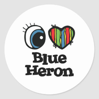 Amo corazón la garza azul etiqueta redonda