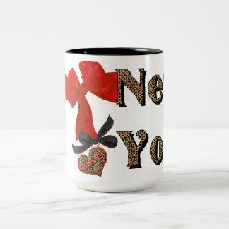AMO (corazón) la taza de café del leopardo de Nuev