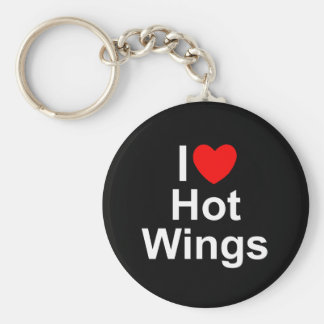 Amo (corazón) las alas calientes llavero redondo tipo pin