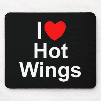 Amo (corazón) las alas calientes tapetes de ratones