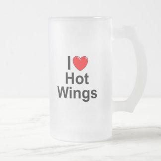 Amo (corazón) las alas calientes taza de cristal